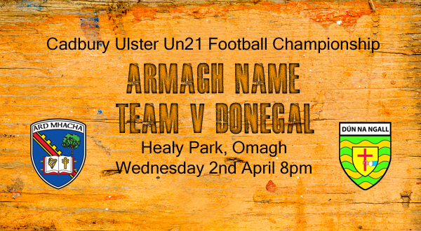 Un21 – Team v Donegal announced