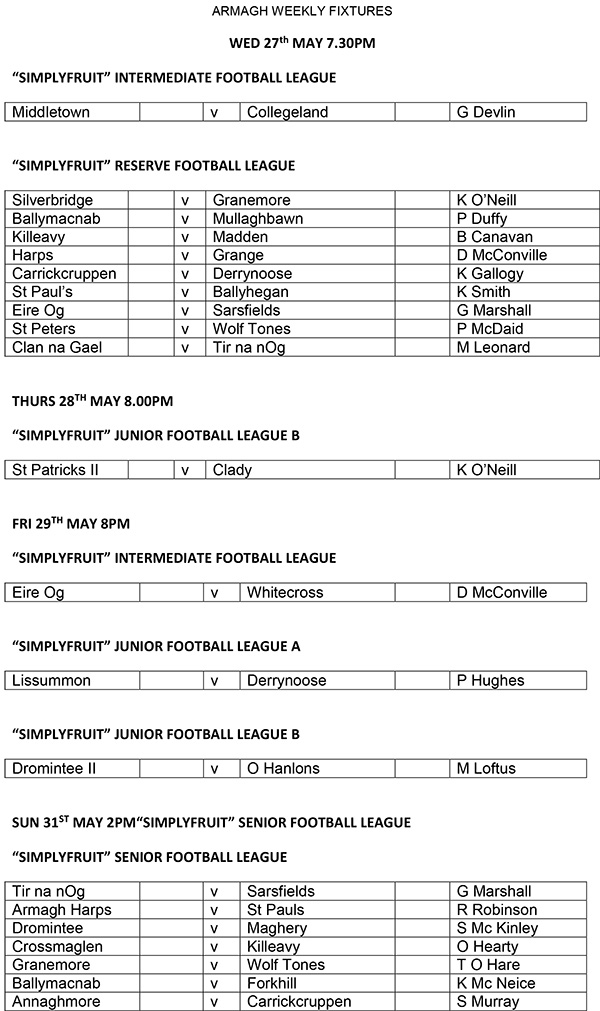 This weeks Fixtures