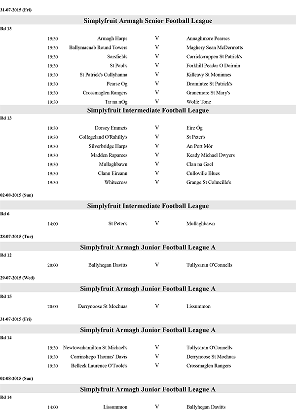 Club Fixtures w/e 2nd August