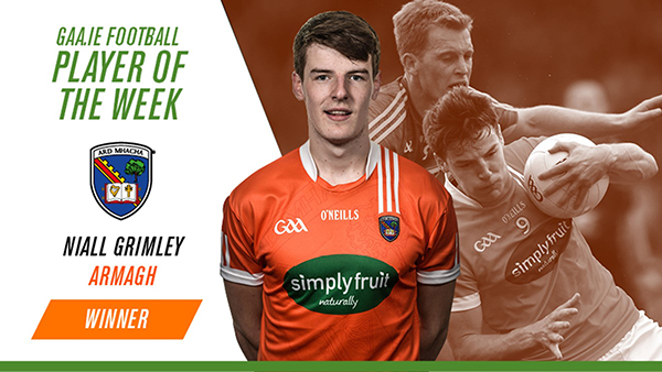 Niall Grimley earns POTW Award