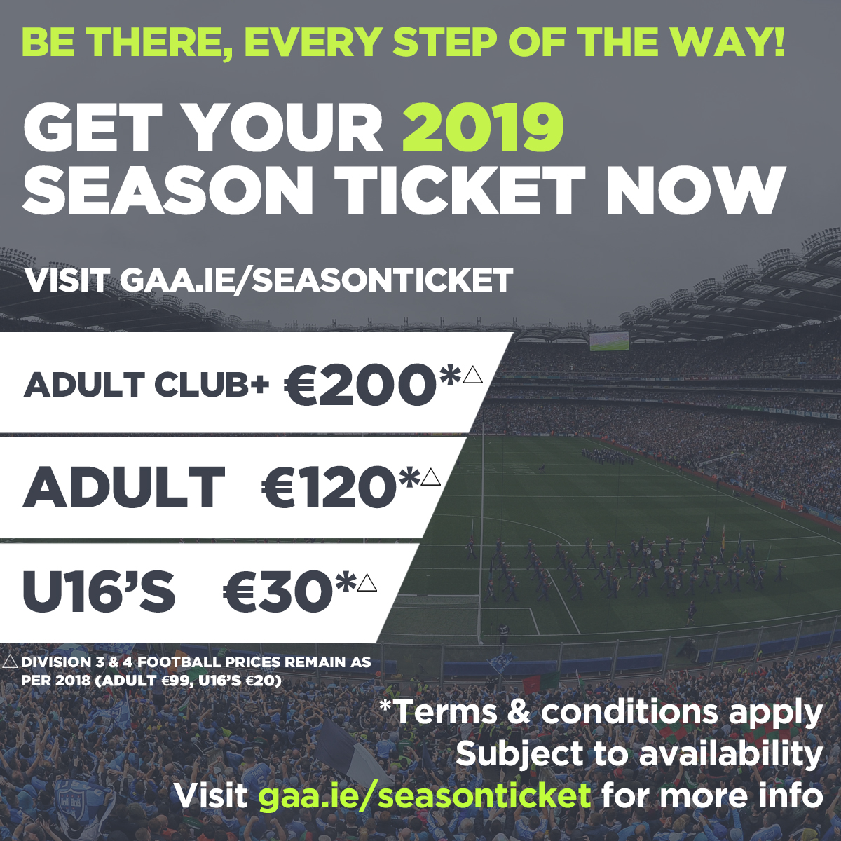 Link to GAA Season Tickets for 2019 now on sale post
