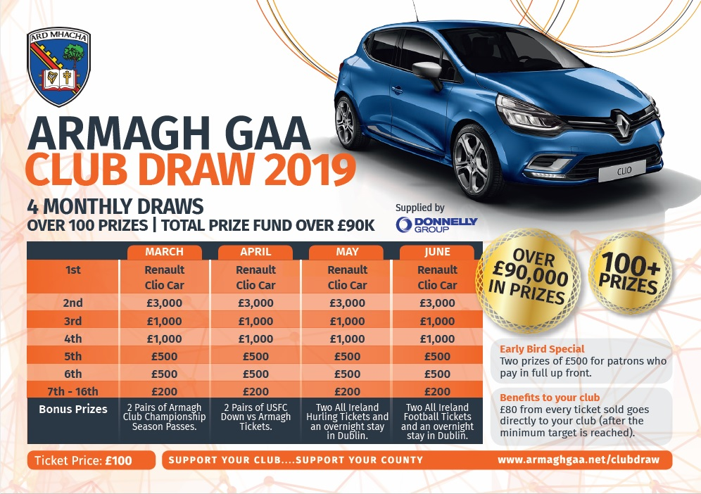 Link to Armagh Club Draw helps drive club funds post