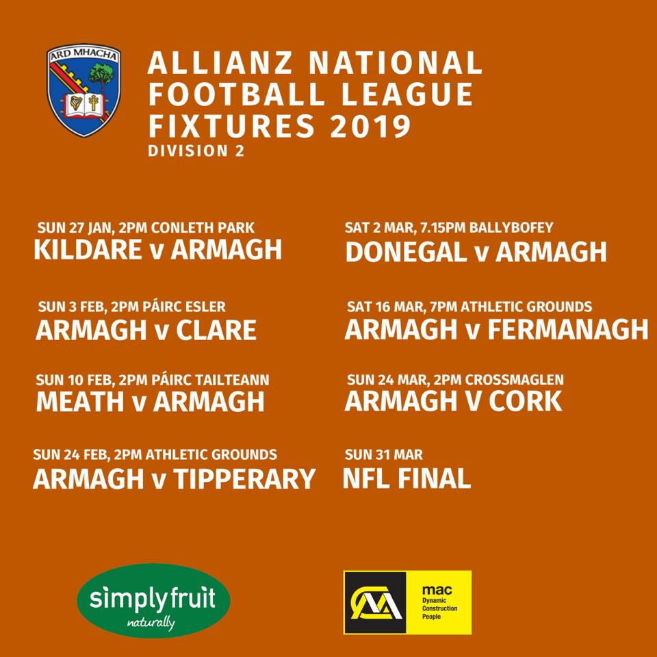 Armagh Football & Hurling Allianz League Fixtures 2019