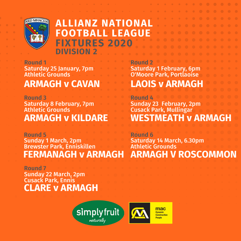 2020 National Leagues: Armagh fixtures