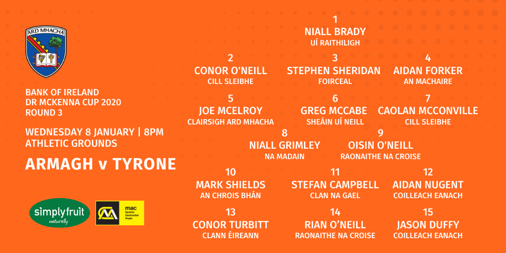 Armagh team to take on Tyrone in Round 3 McKenna Cup