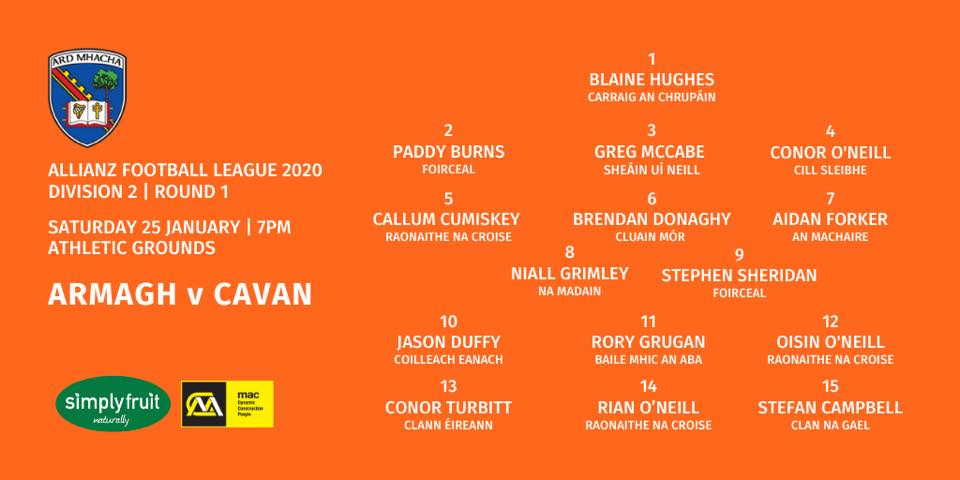 Armagh Team announced v Cavan