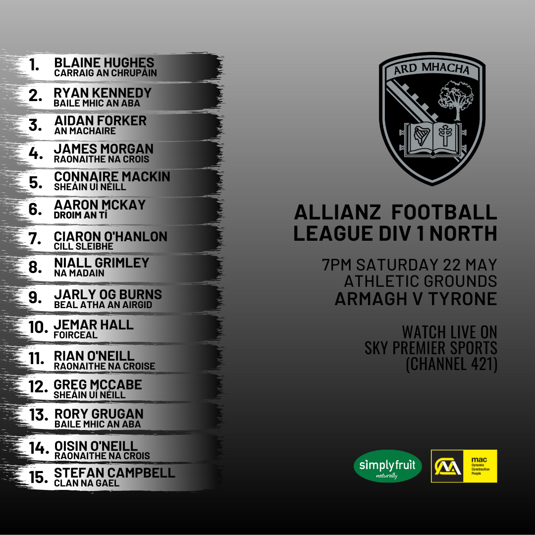 Armagh team named to take on Tyrone