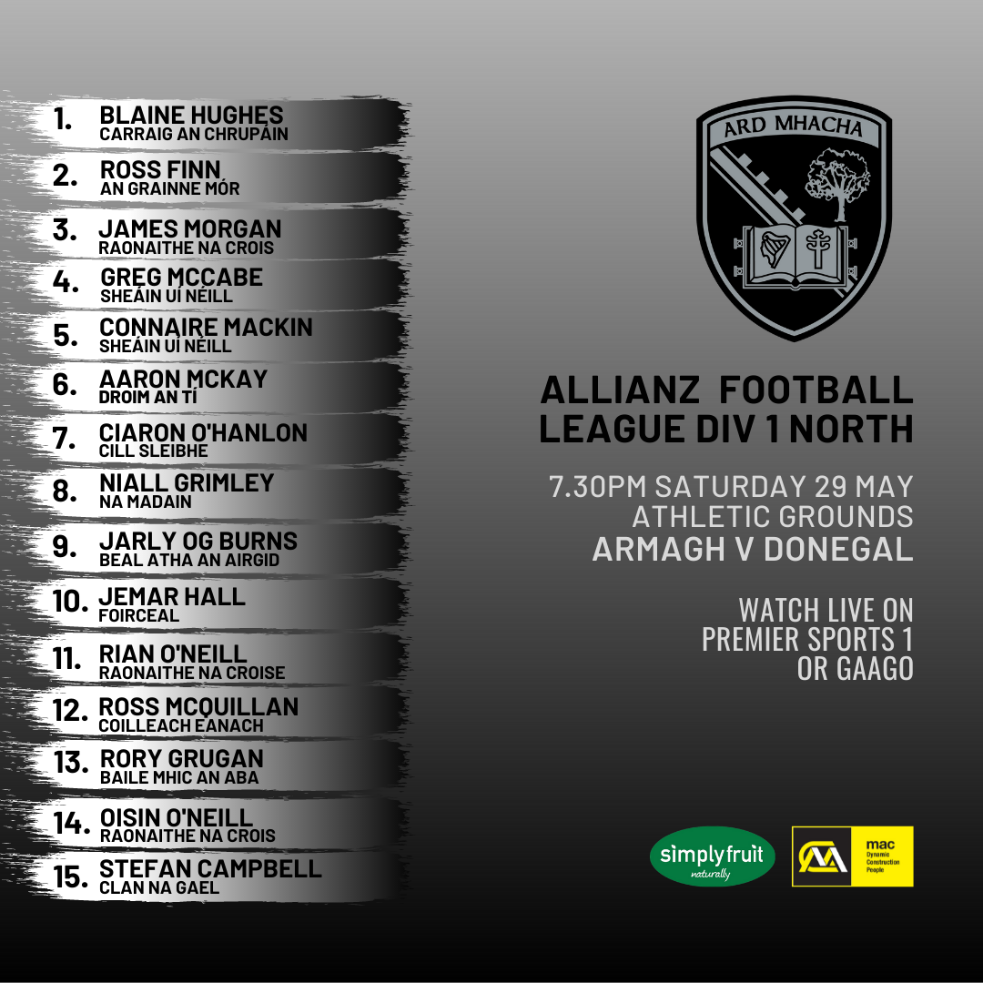 Armagh team named to take on Donegal