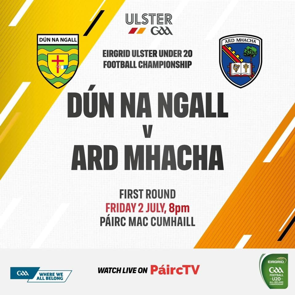 U20's face Donegal in Ulster Football Championship preliminary round