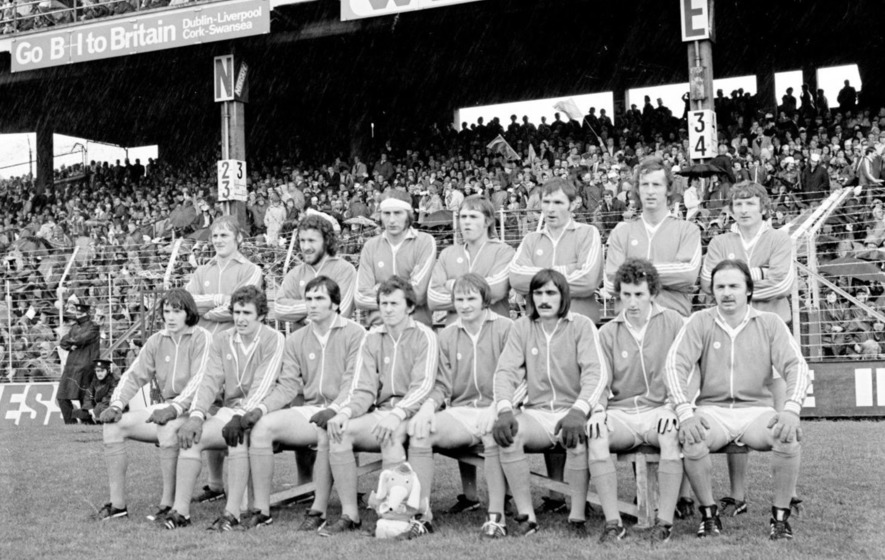 25 September 1977; The Armagh team, back row, left to right, Peter Trainor, Seán Devlin, Larry Kearns, Brian McAlinden, Tom McCreesh, Colm McKinstry, Kevin Rafferty, front row, left to right, Noel Marley, Denis Stevenson, Joe Kernan, Jimmy Smyth, Paddy Moriarty, Jim McKerr, John Donnelly, Peter Loughran. All Ireland GAA Senior Football Championship Final, Dublin v Armagh, Croke Park, Dublin. Picture credit: Connolly Collection / SPORTSFILE